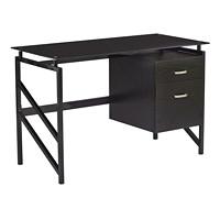 Safco SOHO Glass Top Desk with 2-Drawer Pedestal, Black Laminate/Glass