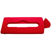 Rubbermaid Commercial Slim Jim Recycling Station Paper Slot Lid, Red