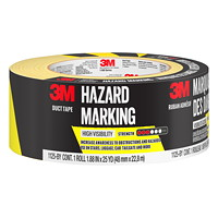 3M Hazard Marking Duct Tape, Black/Yellow, 48 mm x 22.8 m