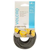 Velcro One-Wrap Thin Ties, Black/Grey, 1/2