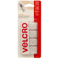 Velcro Sticky Back Squares, White, 7/8