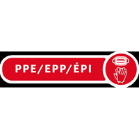 Rubbermaid Commercial Metal Decorative Refuse PPE Label, Bilingual, Red/White