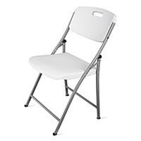 HDL ToughLite Resin Blow Mode Folding Chairs, Light Grey Granite Finish, 6/PK