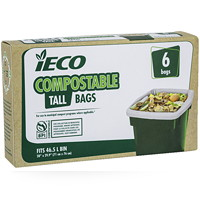 iECO Tall 46.5 L Compostable Garbage Bags, Beige, 6/PK