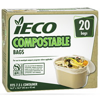 iECO 7.5 L Compostable Garbage Bags, Beige, 20/PK
