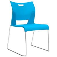 Global Duet Armless Stacking Chair, Buzz Blue