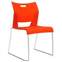 Global Duet Armless Stacking Chair, Carrot Orange