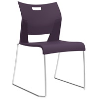 Global Duet Armless Stacking Chair, Eggplant Purple