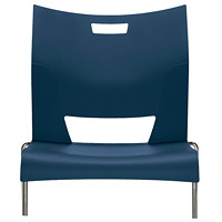 Global Duet Armless Stacking Chair, Ink Navy Blue
