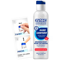 zytec Germ Buster Gel Hand Sanitizer with Aloe, Vitamin E and Moisturizers, 70% Alcohol, Twist and Press Cap Bottle, 100 mL