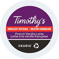 Timothy's Single-Serve Coffee K-Cup Pods, French Vanilla Latte, 24/BX