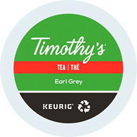 Timothy's Single-Serve Tea K-Cup Pods, Earl Grey, 24/BX