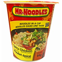 Mr. Noodles Instant Noodles in a Cup, Spicy Chicken Flavour, 64 g, 12/CT