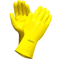 Ronco Light-Fit Latex Reusable Gloves, Flocked Lined, Large, Yellow, 12/PK
