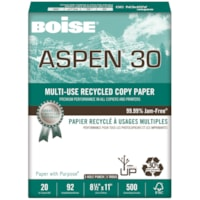 Boise Aspen 30 Multi-Use Recycled Copy Paper, 20 lb., Letter-Size, 3-Hole Punched, 500 Sheets/PK