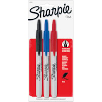 Sharpie Retractable Permanent Markers, Black/Red/Blue, Fine Tip, 3/PK