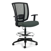 Offices To Go Avro Task Stool with Arms, Ironwork Grey, Terrace Fabric
