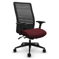 Global Loover High-Back Synchro-Tilter Office Chair, Cerise Red, Terrace Fabric