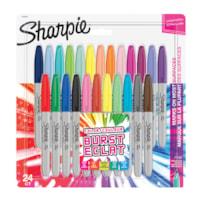 Sharpie Permanent Markers, Burst, Assorted Colours, Fine Tip, 24/PK