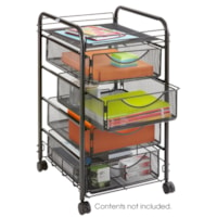 Safco Onyx Mesh Mobile Rolling File Cart With 4 Drawers, Black