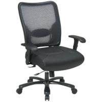 Fauteuil ergonomique avec dossier aéré en mailles noires et assise en cuir pour utilisateurs de forte taille Office Star