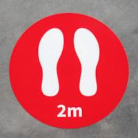 Autocollants de plancher de distanciation sociale Onyx + Blue, 2 m et pieds, emb. de 6