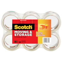Scotch Moving and Storage Packaging Tape, 48 mm x 50 m, 6/PK