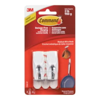 Command Wire Toggle Hooks, White, Medium, 2 lb Capacity, 2 Hooks/3 Strips