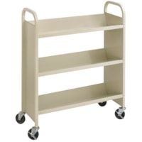 Safco Steel Book Cart, Single Sided, Sand