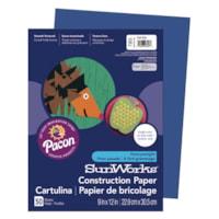 Papier de bricolage à haut grammage SunWorks Pacon, bleu foncé, 9 po x 12 po, emb. de 50