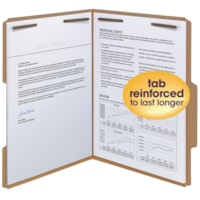 Smead File Folders with 2 Fasteners, Reinforced 2/5-Cut Tab, Letter Size, 50/BX