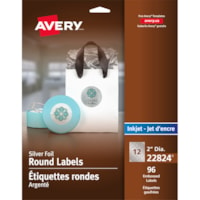 Avery 22824 Embossed Round Labels, Silver Foil, 2