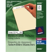 Avery 6505 Removable Filing Labels, White, 3 7/16