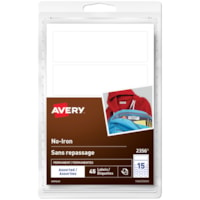 Avery 2356 No-Iron Clothing Labels, White, Assorted Sizes, 15 Labels/Sheet, 3 Sheets/PK