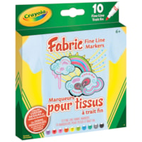 Crayola Fabric Markers, Assorted Colours, Fine Tip, 10/PK