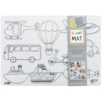 Funny Mat Reusable Table Top Colouring Mat, Vehicles Theme, 18 9/10
