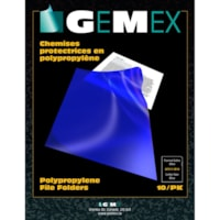Gemex Polypropylene Project Folders, Blue, Letter Size, 10/PK