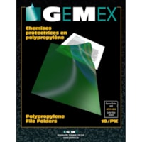 Gemex Polypropylene Project Folders, Green, Letter Size, 10/PK