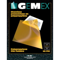 Gemex Polypropylene Project Folders, Yellow, Letter Size, 10/PK