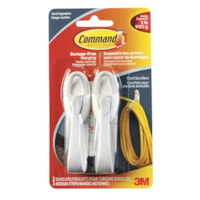 Command Adhesive Cord Bundlers, White/Grey, 2 lb Capacity, 2/PK