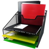 Winnable Mesh Desk Tray Sorter with 2 Additional Pockets, Black, Letter Size