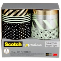 Scotch Expressions Washi Tape Multi-Pack, Black, Metallic Dots and Stripes Collection, 8 Rolls/PK
