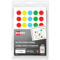 Avery 2369 See-Thru Removable Colour-Coding Labels, Assorted Colours, 3/4