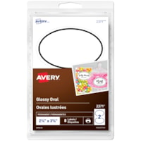 Avery 2371 Glossy Oval Labels, White with Black Border, 2 3/8