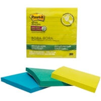 Feuillets super collants recyclés Post-it, collection Bora Bora, lignés, 4 po x 4 po, blocs de 90 feuillets, emb. de 3