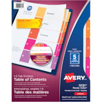 Avery Ready Index Customizable Table of Contents Dividers, Multi-Coloured, Numbered (1-5), Letter-Size, 5 Tabs/ST, 1 Set/PK