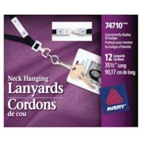 Avery Neck Hanging Lanyards, Black/White, 12/PK