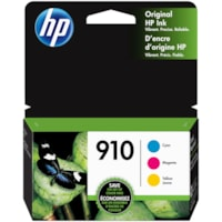 Cartouches d'encre tricolore à rendement standard HP 910 (3YN97AN), cyan, magenta et jaune, emb. de 3