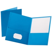 Oxford Embossed Twin-Pocket Report Cover Folders, Light Blue, Letter Size
