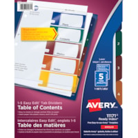 Avery 11171 Ready Index Easy Edit Table of Contents Dividers, Multi-Coloured Tabs, Numbered (1-5), Letter-Size, 5-Tabs/ST, 1-Set/PK